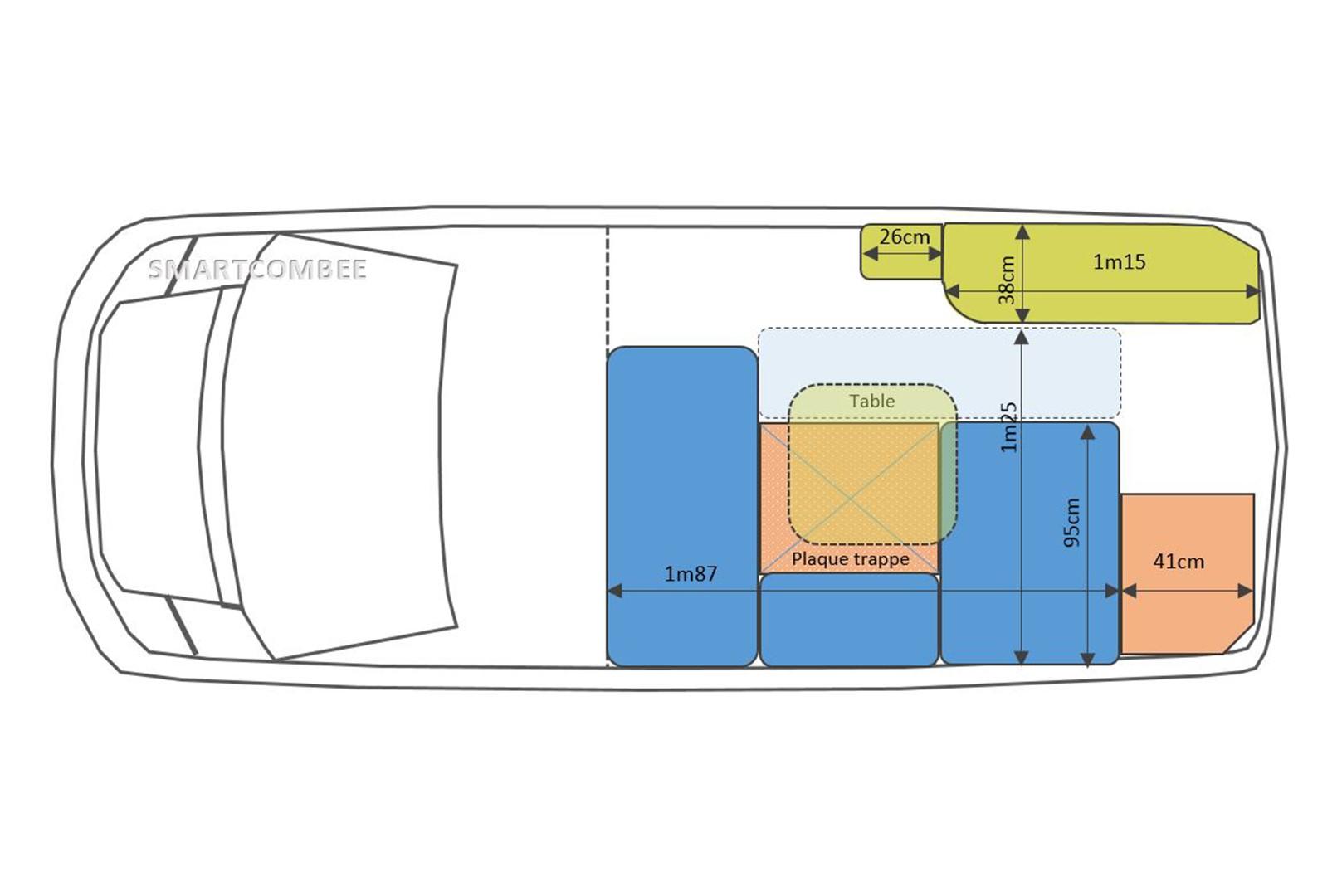 Kits d 39 am nagement fourgon camping car smart combee - Plan amenagement transporter t4 ...